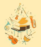 Set of musical instruments. Classical musical instruments in vintage hand-draw style Royalty Free Stock Images