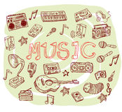 Set of musical instruments collection, illustration. Royalty Free Stock Photography