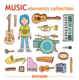 Set of musical instruments collection, illustration. Royalty Free Stock Images