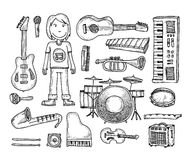 Set of musical instruments collection, illustration. Stock Photo