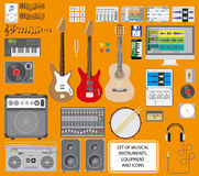 Set of musical instruments Stock Photos