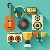 Set of musical instruments in flat design style Stock Photo