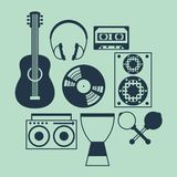 Set of musical instruments in flat design style Royalty Free Stock Photo