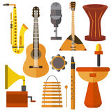 Set  musical instruments guitar, gramophone, trumpet, microphone, balalaika Royalty Free Stock Photography