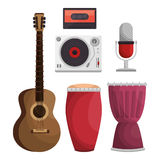 Set musical instruments icons Stock Photo