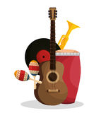 Set musical instruments icons Stock Images