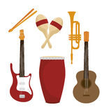 Set the musical instruments isolated icon design Stock Photography