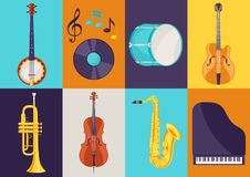 Set of musical instruments. Jazz, blues and classical music.  Royalty Free Stock Photos
