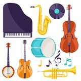 Set of musical instruments. Jazz, blues and classical music.  royalty free illustration