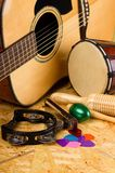 Set of musical instruments on OSB Stock Image