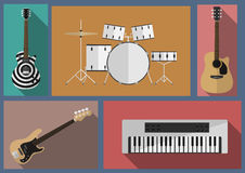Set of musical instruments. Rock music instruments set. White drums. acoustic guitar. Bass. White synthesizer Royalty Free Stock Photo