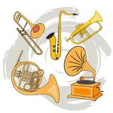 Set of Musical Instruments-02. A set of wind musical instruments. Trumpet, trambon, flute, bugle, gramophone. Rock n roll day. Isolated vector illustration Royalty Free Stock Photos