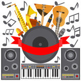 Set of musical instruments speakers, music, plate guitar, gramophone Stock Images
