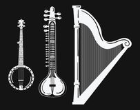 A set of musical instruments. Stylized harp. Black and white banjo illustration. Sitar. Collection of stringed musical Stock Images