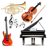 Set of musical instruments trumpet, violin, piano and guitar with notes Royalty Free Stock Photo