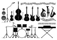 Set musical instruments Stock Image