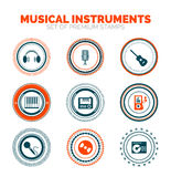 Set of musical instruments vector premium stamps Stock Photo