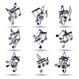 Set of musical notes icons. Royalty Free Stock Photography