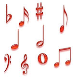 Set of  Musical Notes Stock Photography