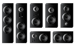 Set of musical speakers. Of various sizes in black Royalty Free Stock Images