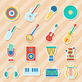 Set of musical stickers. Vector illustration Royalty Free Stock Photos