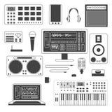 Set of musician digital equipment. Royalty Free Stock Photo