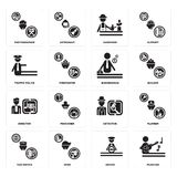 Set of Musician, Driver, Taxi driver, Detective, Director, Businessman, traffic police, Gardener, Photographer icons. Set Of 16 simple  icons such as Musician Royalty Free Stock Photo