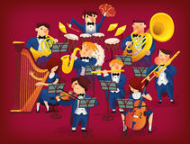 Set of musicians. People in musicians pit playing in classic symphonic orchestra on all kinds of instruments Stock Image