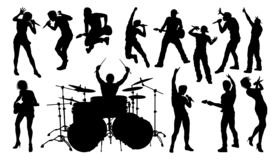 Silhouettes Rock or Pop Band Musicians. A set of musicians, rock or pop band singers, drummers, and guitarists high quality silhouettes royalty free illustration