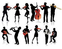 Set of musicians silhouettes. Guitarist, violinist, trumpeter, accordionist etc vector illustration