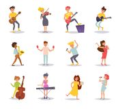 Set with musicians. Vector. Cartoon. Isolated art on white background. Flat royalty free illustration