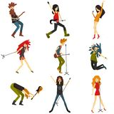 Young people play musical instruments and sing modern music. Vector Characters. vector illustration