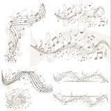 Set of musik backgrounds with notes. Musik background with notes in beige Stock Photo