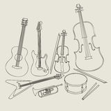 Set Musikinstrumente Stockfotografie