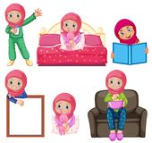 A set of muslim girl and activity vector illustration
