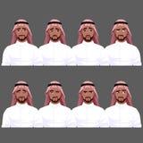 Set of Muslim man`s emotions. Stock Image
