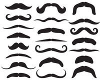 Set of mustache. Mustache collection, forms of whiskers Stock Photography