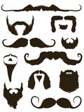 Set of mustache and beard silhouettes stock illustration