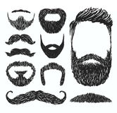 Set of mustache and beard silhouettes, vector illustration Stock Photos
