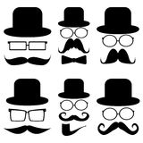 Set mustache, hats, glasses, Royalty Free Stock Photography