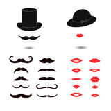 Set of mustaches and lips. Royalty Free Stock Photo