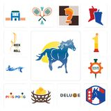Set of mustang mascot, democratic party, deluxe, bird nest, ping pong, spare parts, mermaid, no.1, rock n roll icons. Set Of 13 simple editable icons such as Stock Images