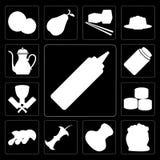 Set musztarda, mąka, sól, Apple, pieczarki, suszi, masarka, H ilustracja wektor