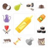 Set musztarda, mąka, sól, Apple, pieczarki, suszi, masarka, H royalty ilustracja