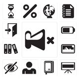 Set of Mute, Television, Notebook, User, Hide, Photos, Archive,. Set Of 13 simple editable icons such as Mute, Television, Notebook, User, Hide, Photos, Archive royalty free illustration