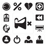Set of Mute, Upload, User, Switch, Television, Worldwide, Rewind. Set Of 13 simple editable icons such as Mute, Upload, User, Switch, Television, Worldwide royalty free illustration