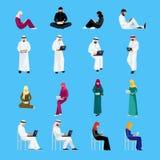 Set Muzułmańscy ludzie w mieszkanie stylu odizolowywającym na błękitnym backgrou Zdjęcia Stock