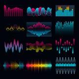 Set muzyczne wyrównywacza audio fala ilustracji