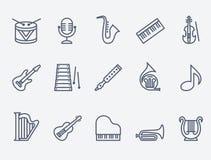 Set 15 muzycznych instrumentów Obrazy Stock