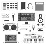 Set muzyka cyfrowy wyposażenie ilustracji